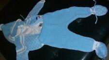 ABC PETIT JOUET Infant Baby Boys Blue Acrylic Knit Sweater Pants Set Sz 6-9 MOS