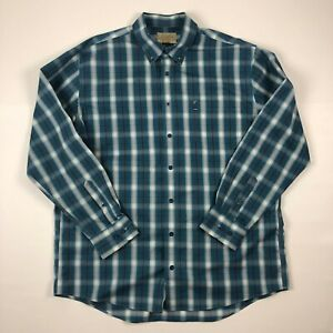 Cabelas-Outfitter-Series-Mens-Button-Down-Plaid-Flannel-Long-Sleeve-Shirt-Sz-XL