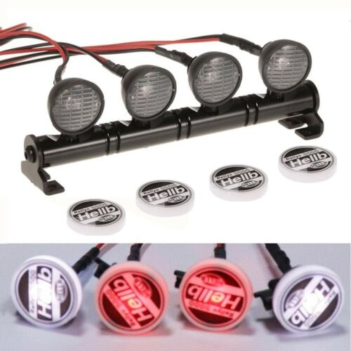 Round LED Light Roof Rack 4 Spotlight for 1:10 RC Car Crawler  TRX4