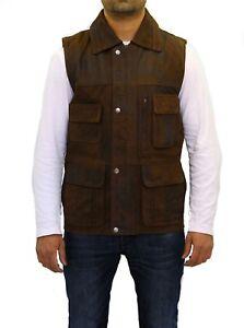 Dettagli su VINTAGE Da Uomo Marrone Pelle Hunter camicia gilet colletto con chiusura a bottoni automatici mostra il titolo originale