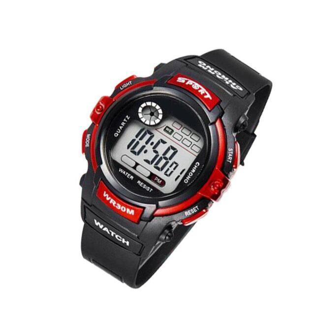 New Unisex Watch Fashion Electronic Resin Sports Waterproof  Kids Black Red AC