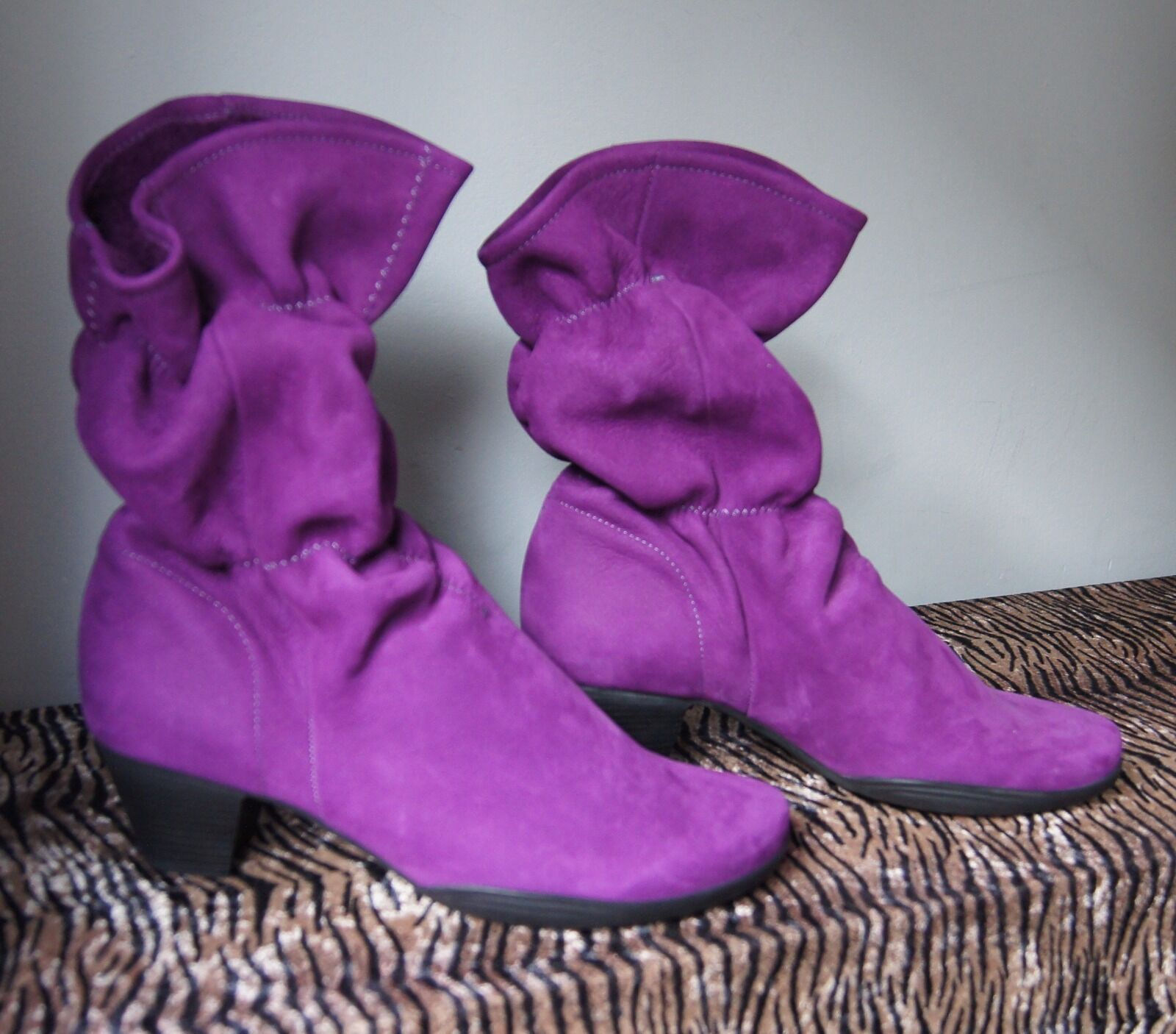 Arche Garley Ruched Purple Suede Leather Ruched Garley Boots /37 bb2565