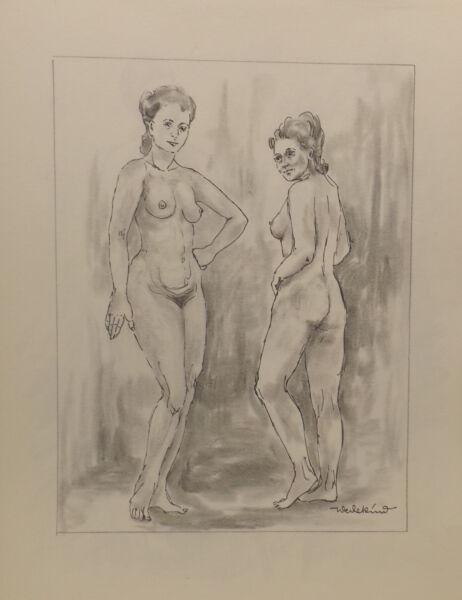 """"""" 2 Chica/mujeres Desnudo No.51"""" Pintura / Técnica Mixta. Firmado Wedekind A Prueba De Encogimiento"""