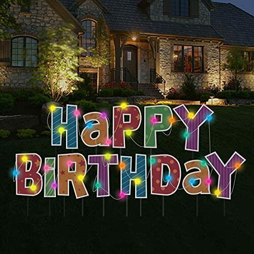 Luciole Happy Birthday Yard Sign with Stakes Set of 13 Large Lawn Letters and...