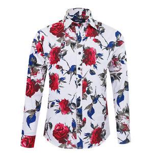 Luxury Men Floral Shirts Casual Long Sleeve Designer