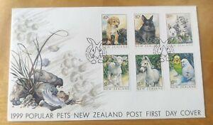 1999 New Zealand Kucing Cat Dog Goat Horse Parrot Rabbit Popular Pets Stamp FDC