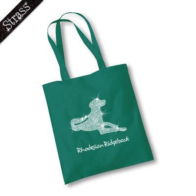 Jutebeutel Beutel Einkaufstasche Tasche Strass Hund Rhodesian Ridgeback M1