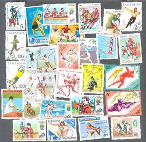 Efficace Sports Sur Timbres Thématiques 100 Toutes Différentes Collection-afficher Le Titre D'origine