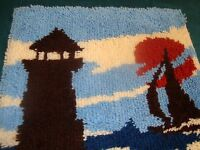 Completed Latch Hook Rug Seaside Light House Full Moon Finished 20 X 27