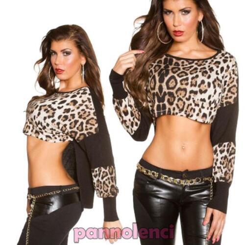 Top donna corto maglia scollo barchetta gitana leopardo animalier nuovo DL-1858