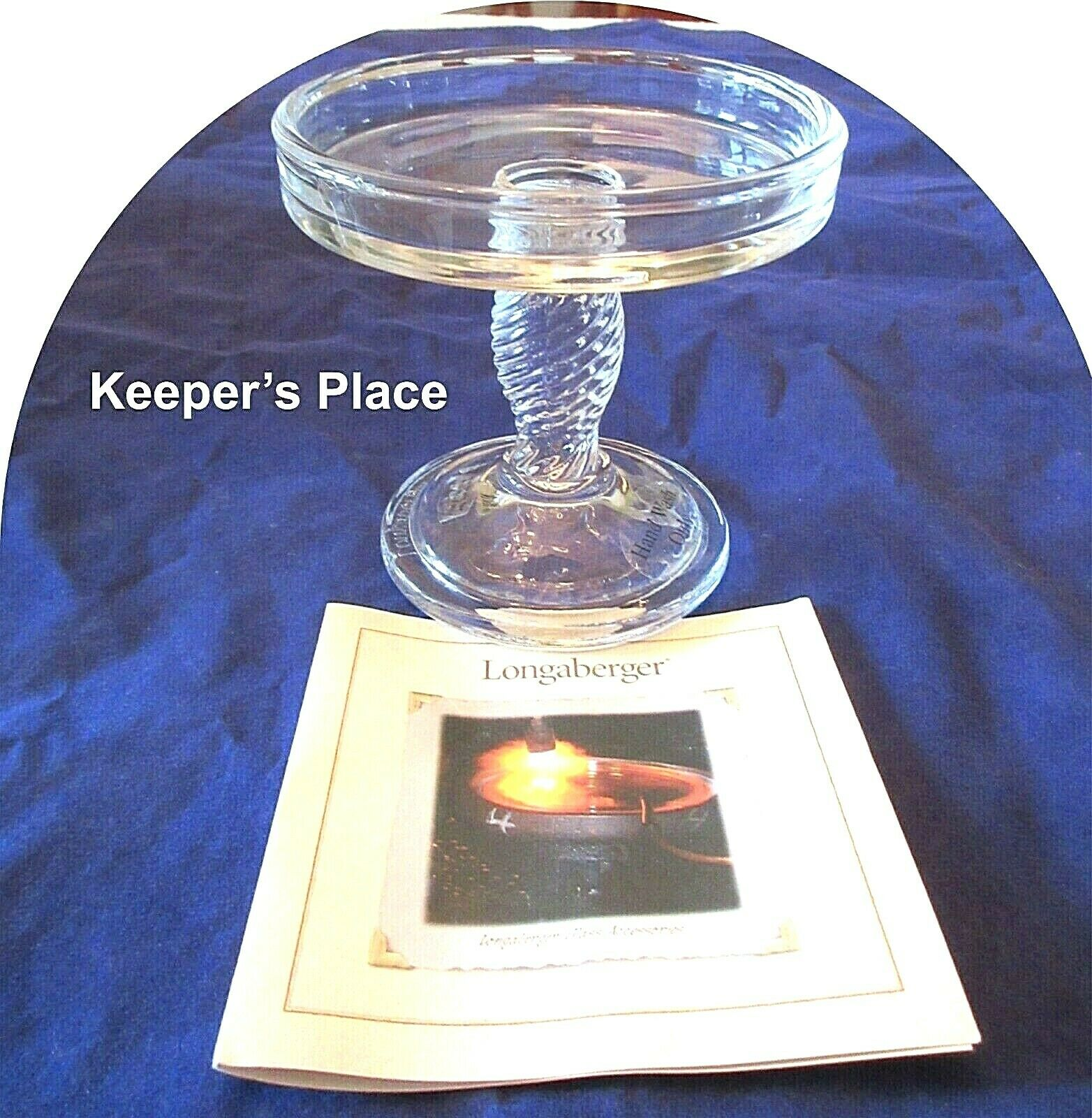 GLASS PEDESTAL CANDLE STAND Longaberger 2007 NIB Set of 2