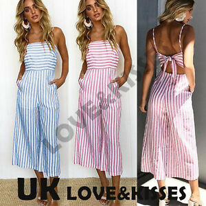51249e6157c Image is loading UK-Womens-Sleeveless-Striped-Backless-Wide-Leg-Strappy-