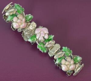 Vintage-Solid-Silver-and-Enamel-Floral-Design-Bracelet-7-1-4-034