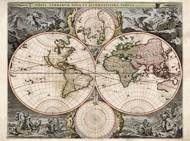 MP47 Vintage 1690 Historical Map Of The World Orbis Terrarum Re-Print A1/A2/A3