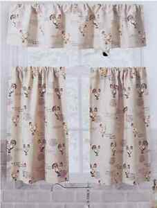 Details about Country Roosters Chickens Farm Script 3P ENVOGUE Kitchen  Curtains & Valance Set
