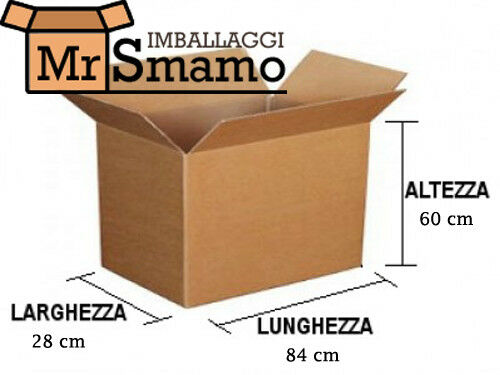 30 PEZZI 84x28x60 Kit Scatola Imballaggio Spedizioni Trasloco Scatoloni Imballi