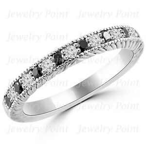 Fine-0-33ct-Black-Diamond-Wedding-Ring-14k-White-Gold-Band-Vintage-Antique-Style