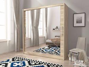 Julia 6 Large Sliding Mirrored Doors Bedroom Wardrobe