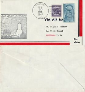 US-1946-FIRST-FLIGHT-FLOWN-COVER-CHICAGO-TO-MONTREAL-ROUTE