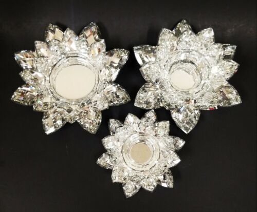 CRYSTAL GLASS MIRROR SILVER LOTUS FLOWER SHAPED TEALIGHT,PILLAR CANDLE HOLDER