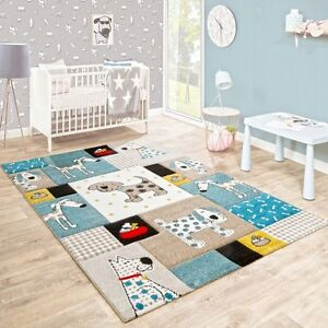 Image Is Loading Blue Nursery Rug Dog Animal Print Baby Bedroom