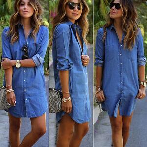 Women-039-s-Denim-Jeans-Dress-Button-Pocket-Long-Sleeve-Casual-Tops-Shirt-Mini-Dress