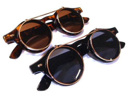 Classic Steampunk Goth Glasses Goggles Round Flip Up Sunglasses Round pX