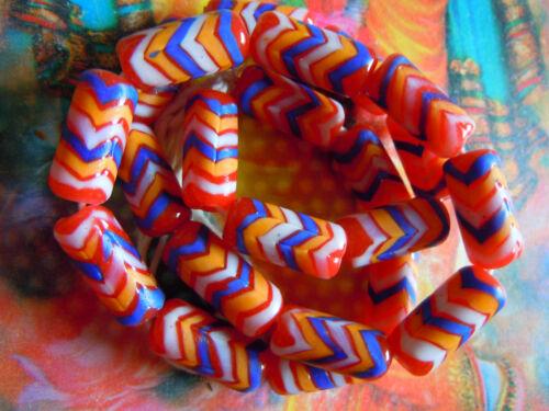 9Stk.-Röhrenform 20x10mm Schöne rot-bunte Indonesia-Perlen m.Zick-Zack-Design