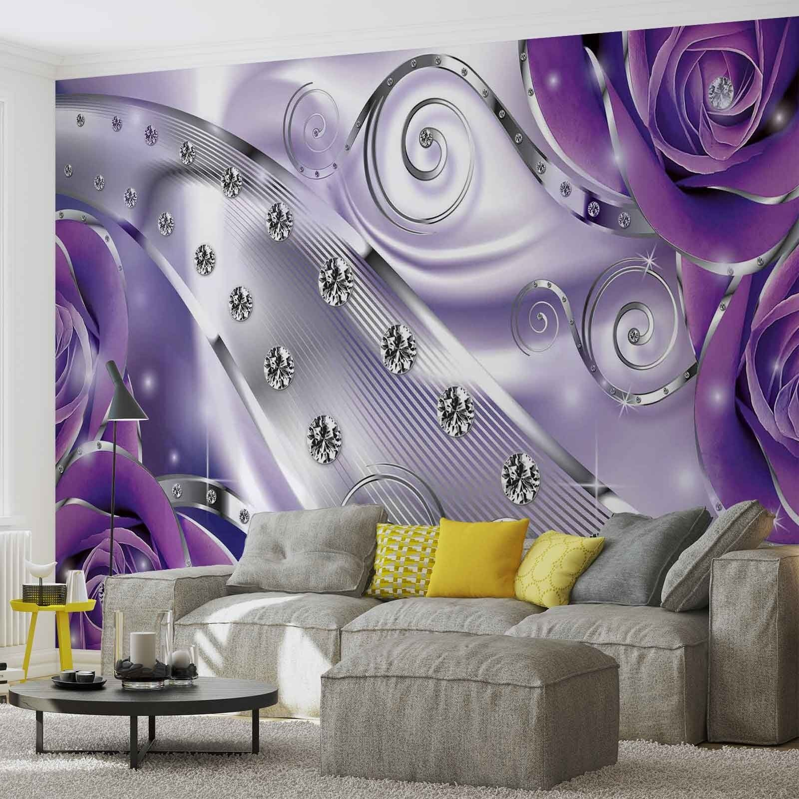 Tapete Fototapete lila Floral Diamond Abstract Modern Photo Wallpaper Mural