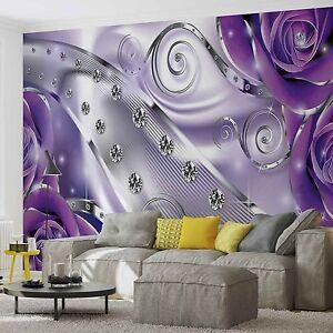 Papel-Pintado-Foto-Mural-Purpura-Floral-DIAMOND-Abstract-Moderno-PHOTO