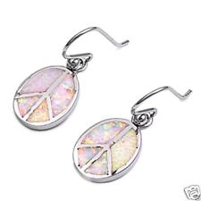 Silver Peace Sign Opal Earrings Sterling Silver 925 Best Price Jewelry White