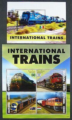 Humorvoll Guyana 2014 Eisenbahn Trains Railways Flaggen Flags Postfrisch Mnh Hochglanzpoliert Guyana