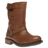 New Mens Superdry Brown Vintage Biker Leather Boots Pull On