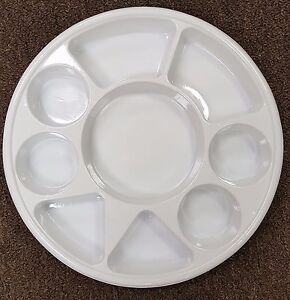 Image is loading White-9-Compartment-Disposable-Plastic-Plates-50-or- & White 9 Compartment Disposable Plastic Plates (50 or 100Pcs) | eBay