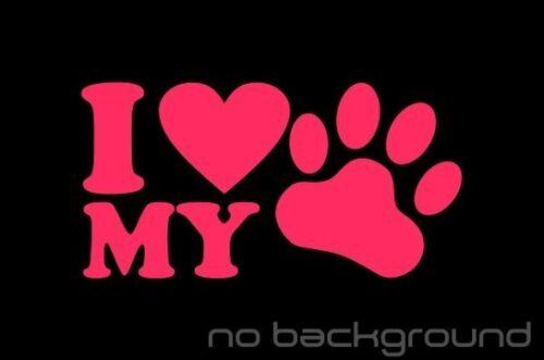 J/'aime Mon Chien Sticker Autocollant Vinyle-Pet Puppy cœur patte Voiture Fenêtre Camion Mignon
