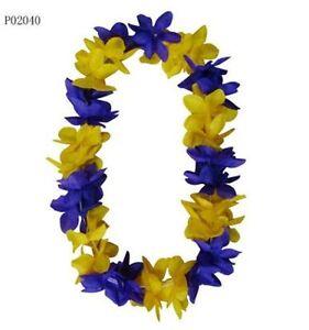 Six hawaiian silk flower lei laker color wedding yellow w purple image is loading six hawaiian silk flower lei laker color wedding mightylinksfo