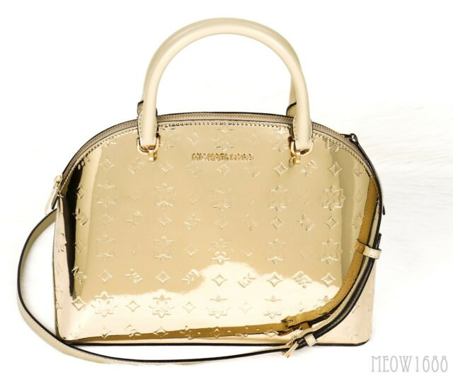 Michael Kors EMMY Mirror Finish Pale Gold Dome Satchel Crossbody Messenger