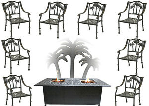 Propane-Fire-Pit-Table-Set-Patio-Furniture-8-Palm-Tree-Dining-Chairs-Sunbrella