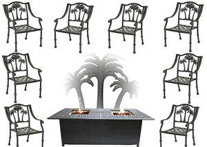 Fire-Pit-Propane-Set-Patio-Furniture-8-Palm-Tree-Dining-Chairs-Sunbrella-Cushion