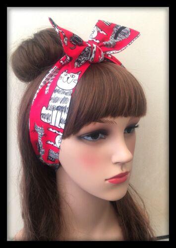 Cat Ears Headband Bandana Hairband Neck Scarf Hair Tie Band Fabric Collar Bow