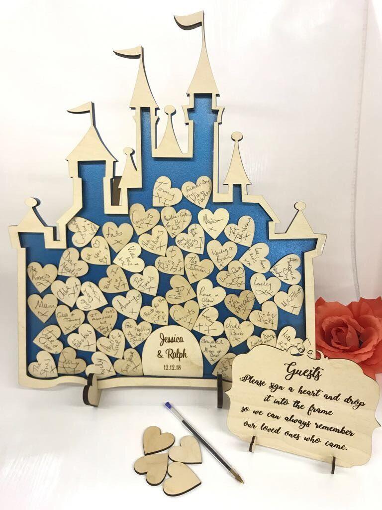 Fairy Castle 52 Cinderella Metallic Blau Wedding drop box alternative guest book