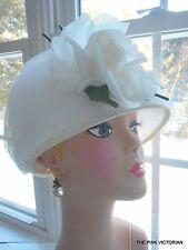 WHITE WEDDING! lightweight TULLE NETTING & ROSE vintage LADIES bucket style HAT