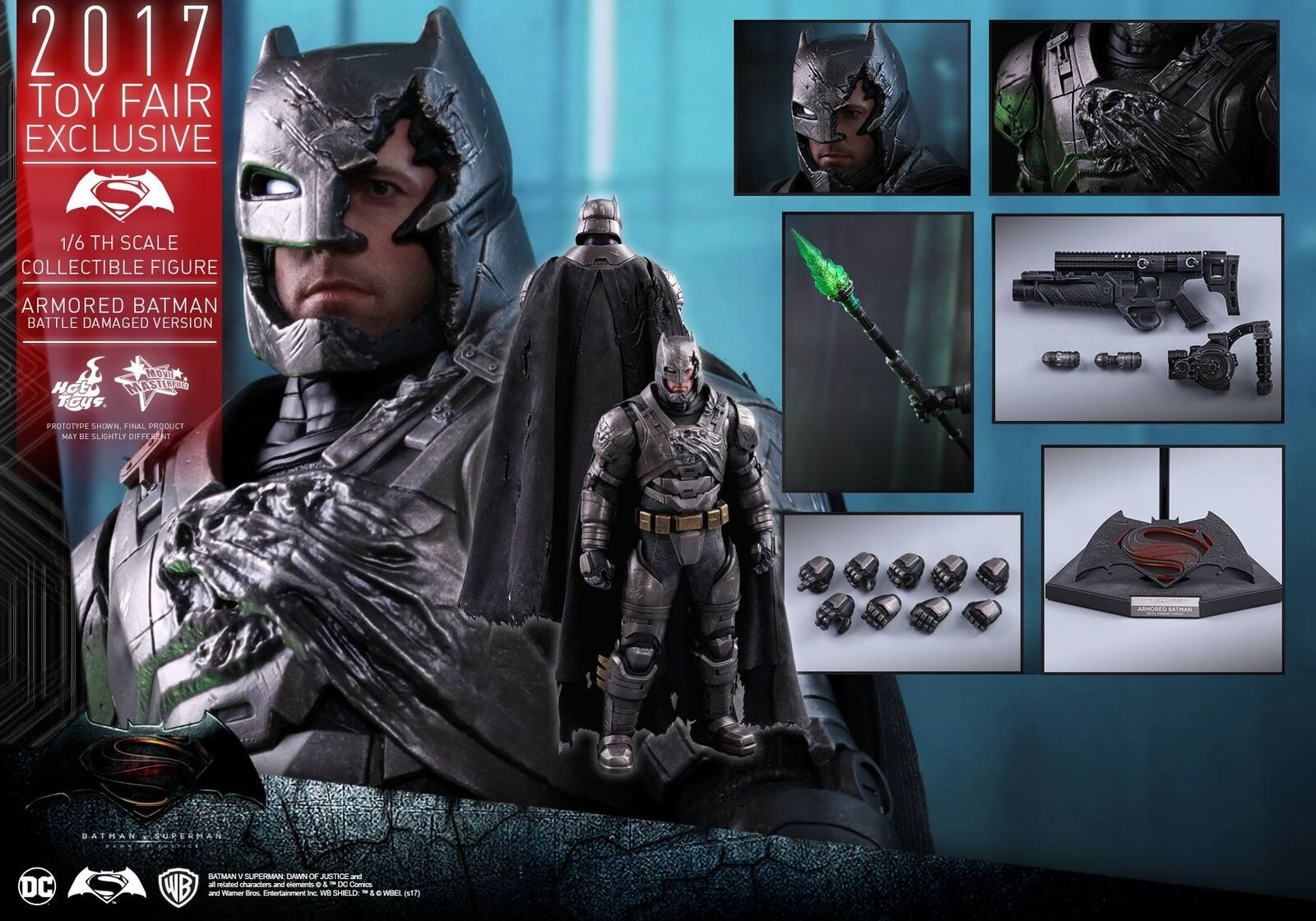 El aclaramiento  Hot Toys 1 6 Batman V Superman Batman Battle Damaged versión MMS417
