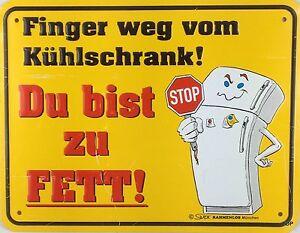 Letrero-de-Metal-con-Dicho-Finger-Weg-por-Refrigerador-Signo-22x17cm-Superior