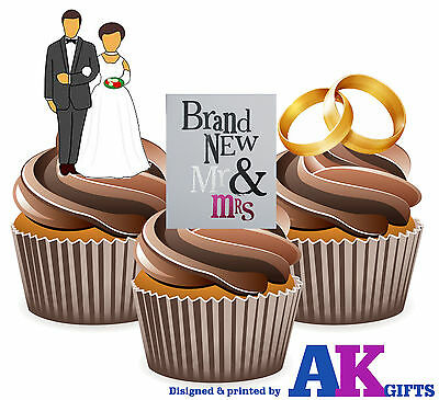 Objective Wedding Bride/groom Brand New Mr & Mrs Mix 12 Edible Stand Up Cup Cake Toppers Delaying Senility Home & Garden