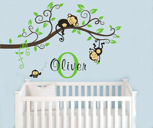 wall stickers custom name monkey branch vinyl decal decor nursery kids