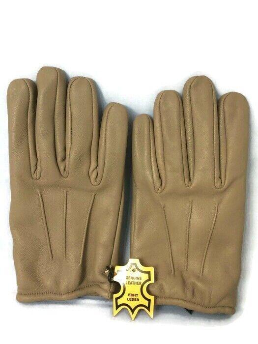 100% Genuine Warm, Soft Sheep Leather Gloves - Dark Tan - Medium