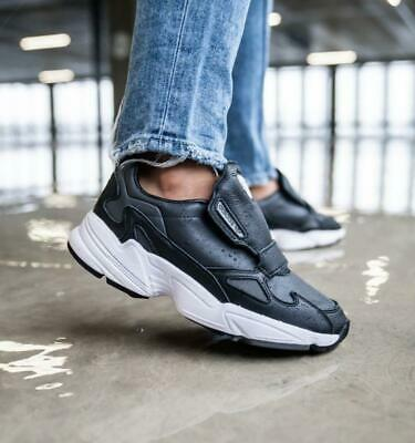 adidas Originals Womens Falcon Rx leather trainers black | eBay