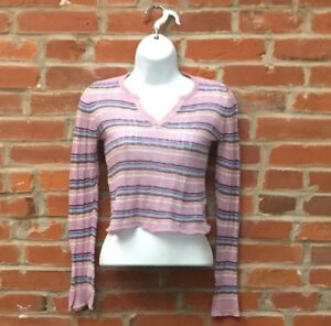 Vintage-90s-2000s-Purple-Striped-Ribbed-Top-Juniors-Notched-Neckline-1476