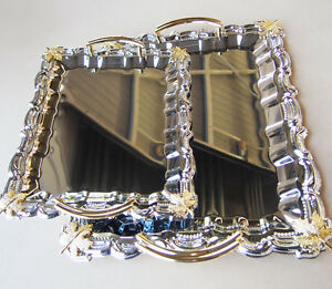 Reflective Shine Rectangular Serving Tray With Gold Handle